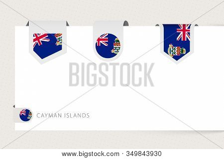 Label Flag Collection Of Cayman Islands In Different Shape. Ribbon Flag Template Of Cayman Islands H