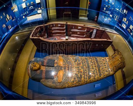 Moscow, Russia - Jan 14, 2020: Archaeological Finds In Egyptian Hall Of Pushkin State Museum Of Fine