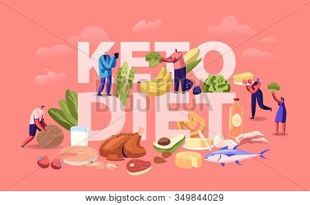 Ketogenic Diet Concept. Male And Female Characters With Balanced Low-carb Food Vegetables, Fish, Mea