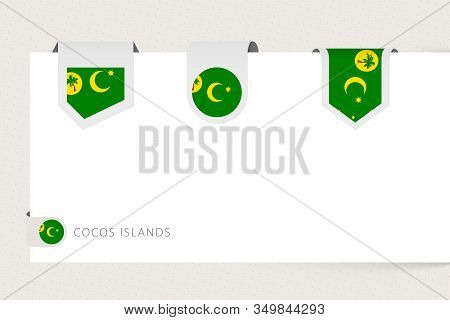 Label Flag Collection Of Cocos Islands In Different Shape. Ribbon Flag Template Of Cocos Islands Han