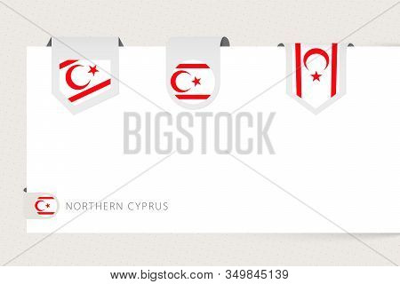 Label Flag Collection Of Northern Cyprus In Different Shape. Ribbon Flag Template Of Northern Cyprus