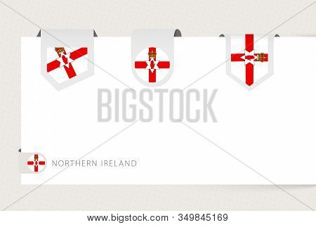 Label Flag Collection Of Northern Ireland In Different Shape. Ribbon Flag Template Of Northern Irela
