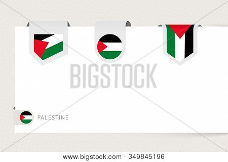 Label Flag Collection Of Palestine In Different Shape. Ribbon Flag Template Of Palestine Hanging Fro