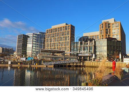 Washington, Dc - December 7 2017: The Wharf, Buildings And Skyline At The Newly Redeveloped Southwes