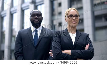 Successful Female Boss With Bodyguard, Feeling Save And Protected, Security