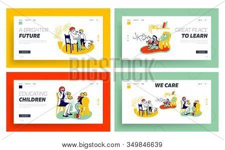 Logopedist Practicing With Kids Website Landing Page Set. Doctor Looking On Tongue Of Little Baby Wi
