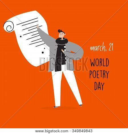 World Poetry Day, March 21. Vector Illustration Of Man Reciting A Poem.