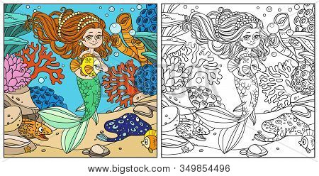 Cute Little Mermaid Girl Holds A Pet Fish On Underwater World With Corals, Anemones, Moray Eels And