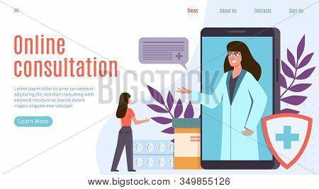 Online Doctor. Healthcare Internet Application, Online Medical Physicians Consultation, Diagnostics