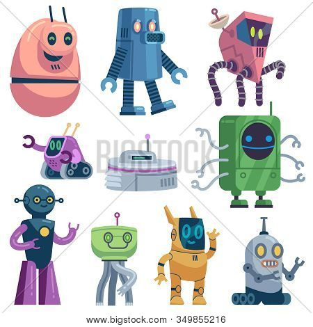 Cute Robots. Colorful Futuristic Robotic Computer Toys, Robot Transformer, Modern Technology Android