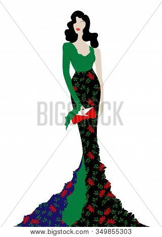 Fashion Model In Floral Beauty Dress, Sexy Woman Posing Evening Gown. Shop Logo Silhouette Diva Beau