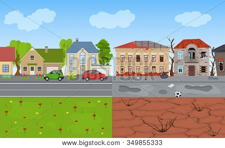 Cartoon Color Rich And Poor City Landscape Background Scene Flat Design Contrast Concept. Vector Ill