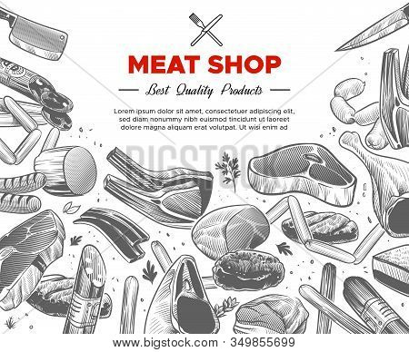 Sketch Meat. Hand Drawn Meat Organic Products Package Design, Beef And Pork, Sausage And Lamb, Ham P