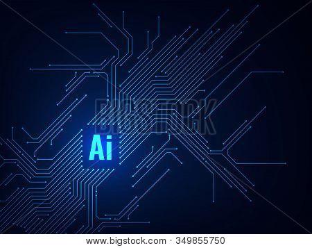 Ai Chipset. Circuit Board Electronic Artificial Intelligence Programming, Digital Microchip Technolo