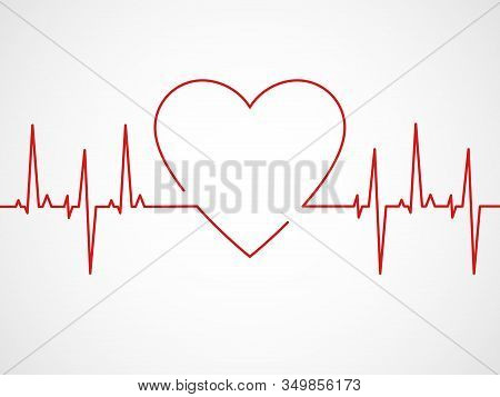 Ekg With Heart. Heartbeat Ecg Line, Monitor With Signal Cardiac Rhythm, Electrocardiographic Pulsing