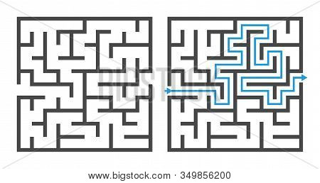 Maze Game. Logic Game Labyrinth, Square Shapes Brainteaser And Solution, Childrens Puzzle Exercise W