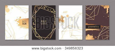 Card With Gold Frames. Trendy Luxury Wedding Invitations With Elegant Geometric Polyhedron, Graphic