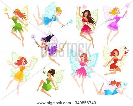 Fairy. Magical Little Fairies In Different Color Dresses With Wings, Mythological Winged Flying Fair