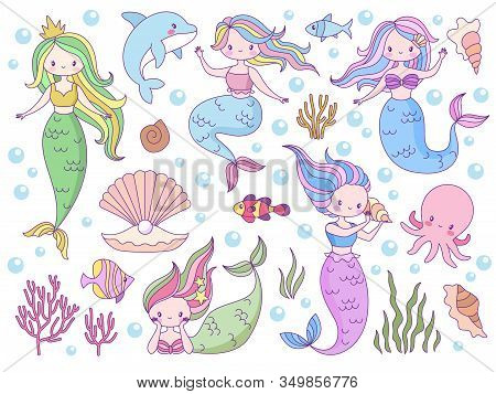 Mermaid. Sea World Little Mermaids, Cute Mythical Princess And Dolphin, Seashell And Seaweeds, Fishe
