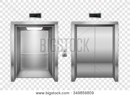 Elevator. Open And Closed Chrome Metal Elevator Doors, Modern Passenger Or Cargo Lift, Lobby Design