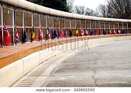 Bedford, Virginia: February 6, 2016 - At The National D-day Memorial, The Flags Of The Participating