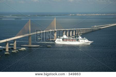 Skyway Bridge And Cruise Ship