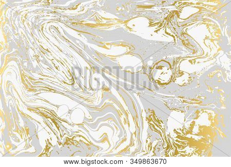 Minimalistic Gold And Gray Marble Pattern. Agate Background.