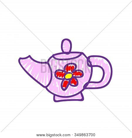 Pink Teapot With Red Flower In A Deliberately Childish Style. Imitation Child Drawing. Kid Sketch, P