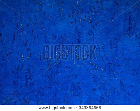 Beautiful Natural Texture Of Cork Oak With Decorative Painted Blue. Cork Cover Background. Wooden Te
