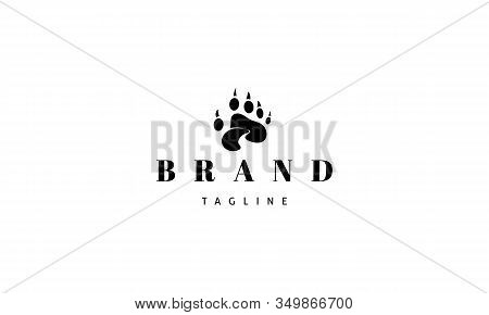 Vector Logo On Which An Abstract Image Of A Bear Paw In The Center Of Which A Creek.