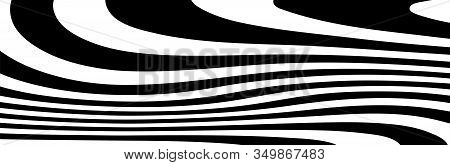 Abstract Black And White Curved Lines Vector. Wide Background Dynamic Wavy Distorted Lines Template