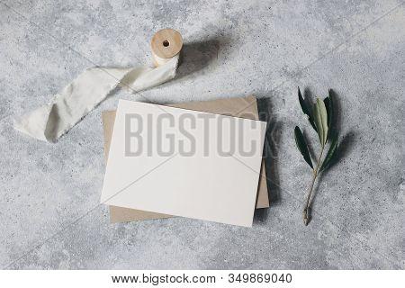Feminine Wedding Stationery, Desktop Mock-up Scene. Blank Greeting Card, Craft Envelope With Olive B