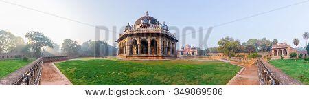 Panorama Of Isa Khans Tomb Near The Humayuns Tomb In New Delhi, India
