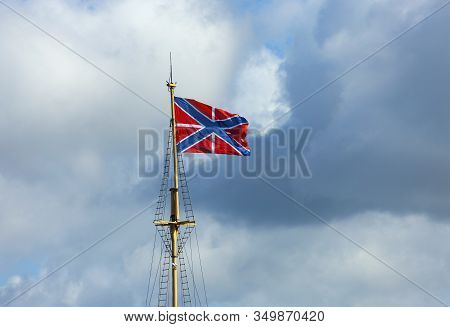 Fortress Flag Over The Peter And Paul Fortress In St. Petersburg. Flag Of Naval Fortresses -- Rises