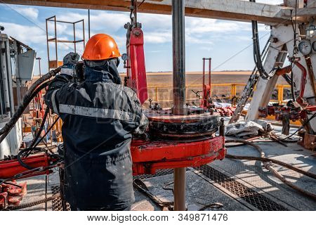 Offshore Oil Rig Worker Prepare Tool And Equipment For Perforation Oil And Gas Well At Wellhead Plat