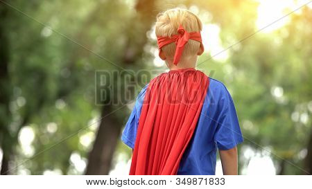 Back View Of Boy In Superman Costume, Dreamy Child, Recreational Activity