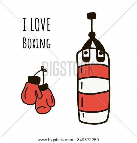 I Love Boxing. Vector Illustration In Flat Style And Lettering. Red Boxing Gloves Hang On The Wall N