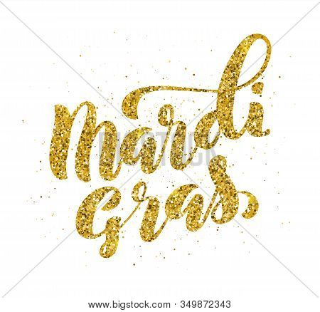 Mardi Gras Party Poster Template With Handdrawn Calligraphy, Vector Illustration.