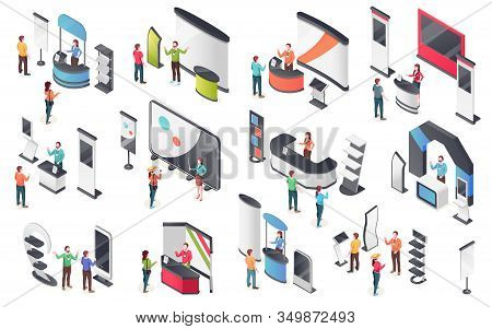 Expo Center, Product Display Stands, Visitors And Consultants People, Isometric Icons. Exhibition An