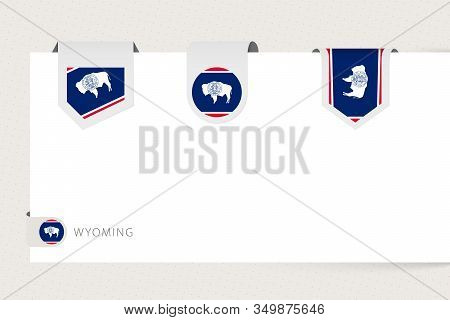 Label Flag Collection Of Us State Wyoming In Different Shape. Ribbon Flag Template Of Wyoming Hangin