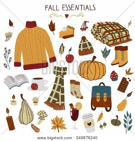 Fall Essentials Hand Drawn Autumn Objects With Sweater, Scarf, Blanket, Leaf, Backpack, Coffee, Glin
