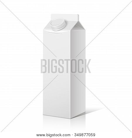 A Box Of Milk On A White, Isolated Background. Pattern, Package. Vector Eps10.