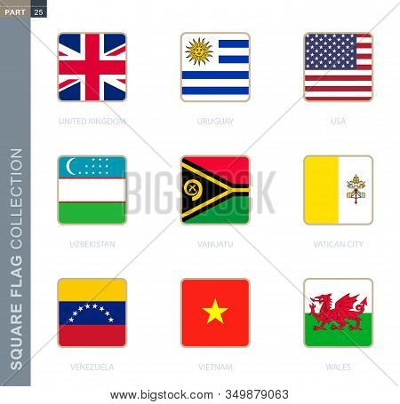 Square Flags Collection Of The World. Square Flags Of United Kingdom, Uruguay, Usa, Uzbekistan, Vanu