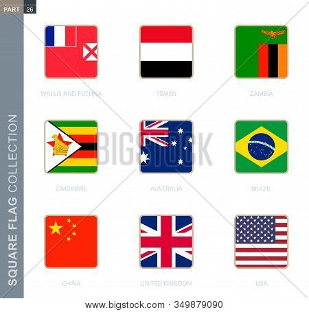 Square Flags Collection Of The World. Square Flags Of Australia, Brazil, China, Uk, Usa, Wallis And