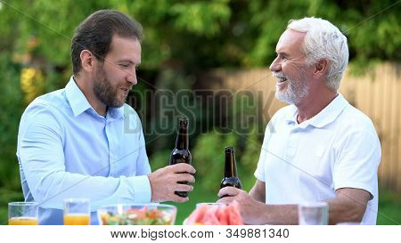 Son-in-law Drinking Beer With Father-in-law, Understanding And Respect