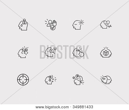 Psychology Icons Set. Alter Ego And Psychology Icons With Imagination, Clear Your Mind And Intellige