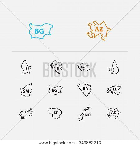 Cartography Icons Set. Russia And Cartography Icons With Liechtenstein, Norway And Luxembourg. Set O