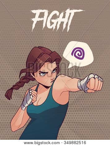 Poster, Card Or T-shirt Print With Angry Boxing Girl With Boxing Bandages. Anime Style Illustration