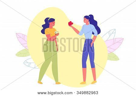 Two Girls Having Different Lifestyle Flat Cartoon Vector Illustration. Sporty Athletic Woman Eating