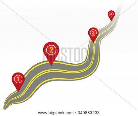 Highway Or Highway On A White Background With Markings And Geodata Points. Vector. Eps 10